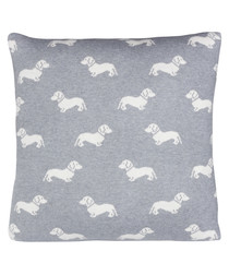 Grey Dachshund knitted cotton cushion