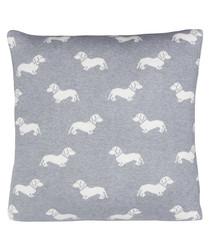 Grey Dachshund knitted cotton cushion