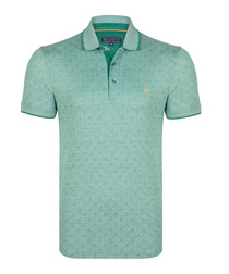 Sage printed short sleeve polo shirt