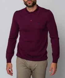 Oaks maroon long sleeved polo top