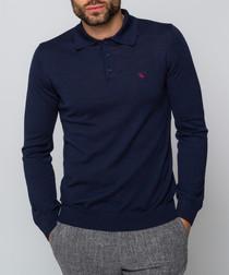 Oaks navy long sleeved polo top