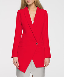 Red asymmetric one-button blazer