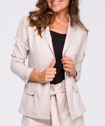Beige linen blend tailored jacket