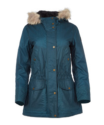 Clyde teal waxed cotton & fur parka