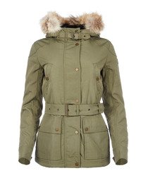 Fairland sage green fur trim jacket