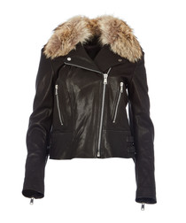 Marvingt 2.0 black leather & fur jacket