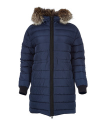 Fenelon navy fur trim hooded coat