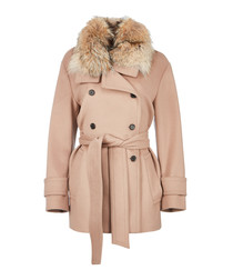 Bridstone rose wool & cashmere fur coat
