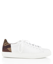 BXS white & leaf green leather sneakers