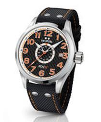 Black & orange stitch strap watch