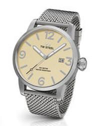 Silver-tone mesh & cream dial watch