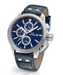 Blue leather strap chronograph watch