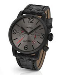 Black leather & dark grey dial watch