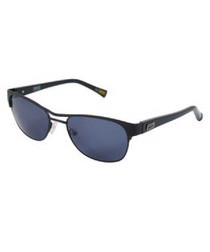 Black & blue double-bridge sunglasses