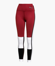 SG X Burgundy & white sports leggings