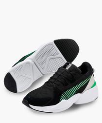 Zeta black & green suede sneakers