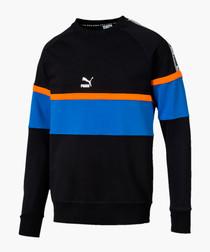 XTG black colour block crew neck jumper