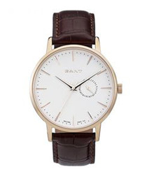 Brown & white leather watch