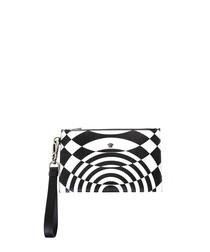 Black & white illusion printed clutch