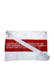 White & red contrasting logo clutch