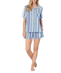 2pc Blue striped pyjama shorts set