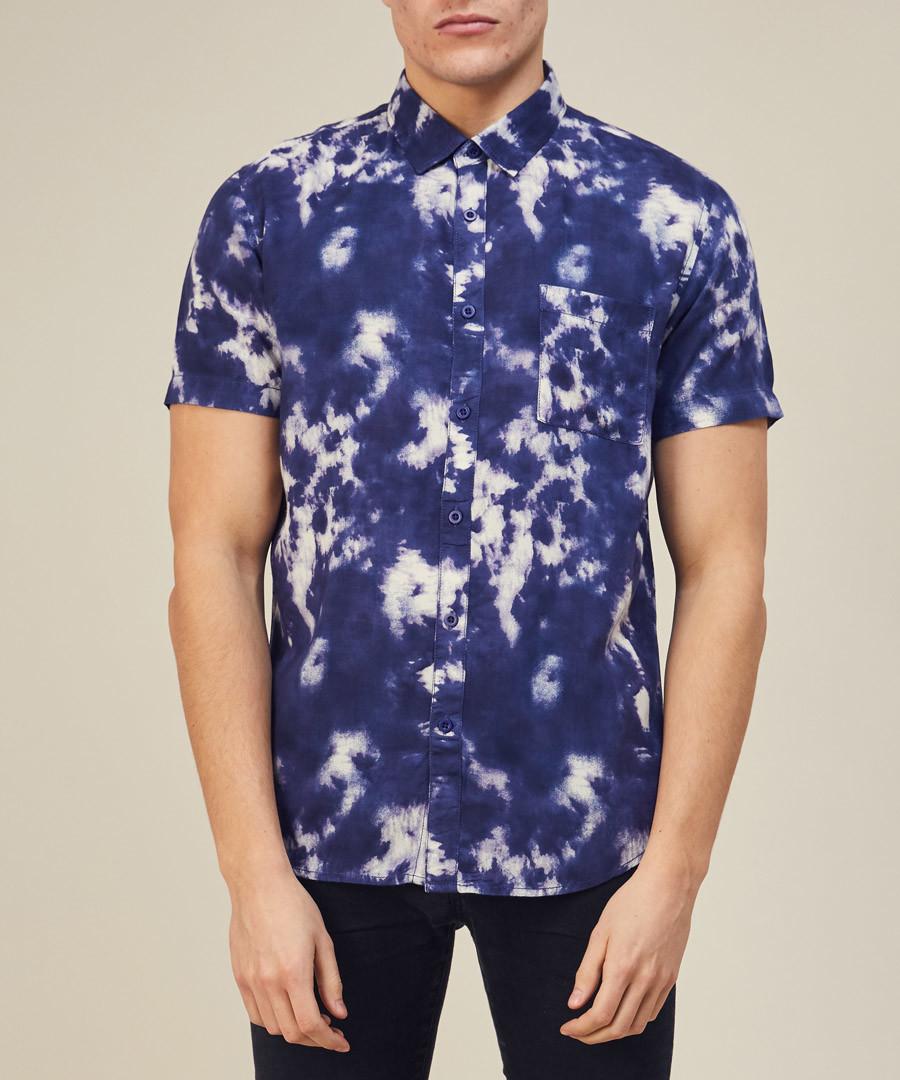 Navy tie-dye printed slim shirt Sale - lockstock