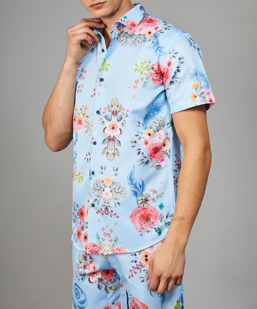 Connor blue floral printed shirt Sale - criminal damage