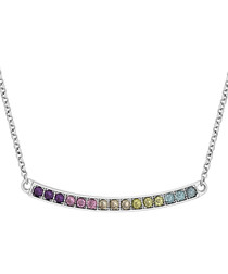 Multicolour crystal 14k white gold-plated necklace