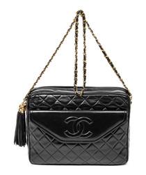 Black quilted leather logo shoulder bag