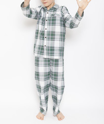 2pc Alfie green checked pyjama set
