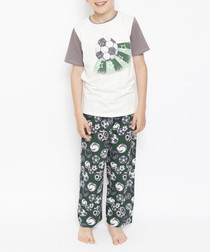 2pc Alfie green football pyjama set
