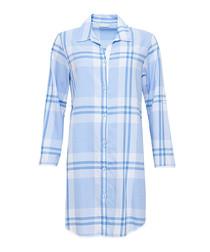 Amelia blue cotton checked nightdress