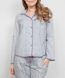 Sienna grey leaf printed pyjama top