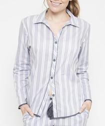 Aspen grey striped pyjama top