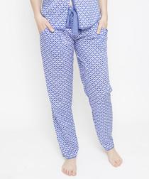Isla blue geo printed pyjama bottoms