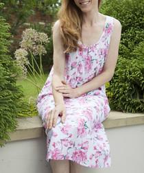 Pearl pink floral printed nightdress
