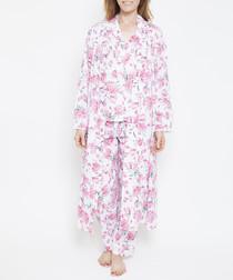 Pearl pink floral printed robe