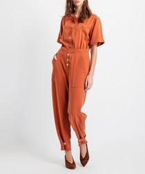 Cinnamon tencel overall jumpsuit