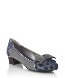 Grey polka dotted bow ballet pumps