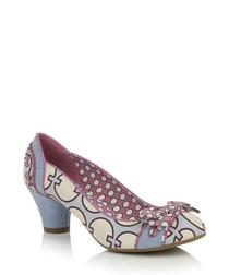 Sky blue printed heels
