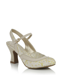 Cream & lemon slingback heels