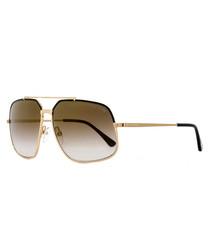 Black & gold-tone pilot sunglasses