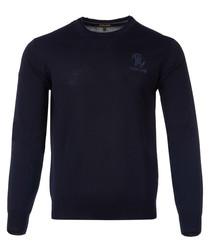 Navy blue wool blend jumper