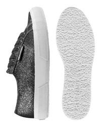 Black & silver-tone glitter sneakers