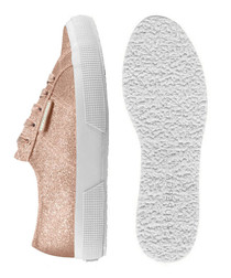 rose gold-tone glitter sneakers
