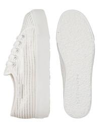 White & silver-tone striped sneakers