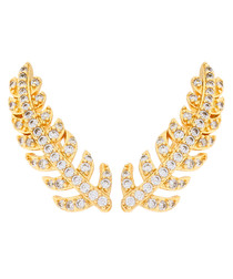 Lily gold-plated feather earrings