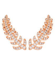 Lily rose gold-plated feather earrings