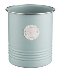 Blue coated steel utensil pot