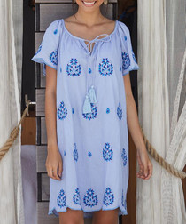 Jade blue embroidered dress